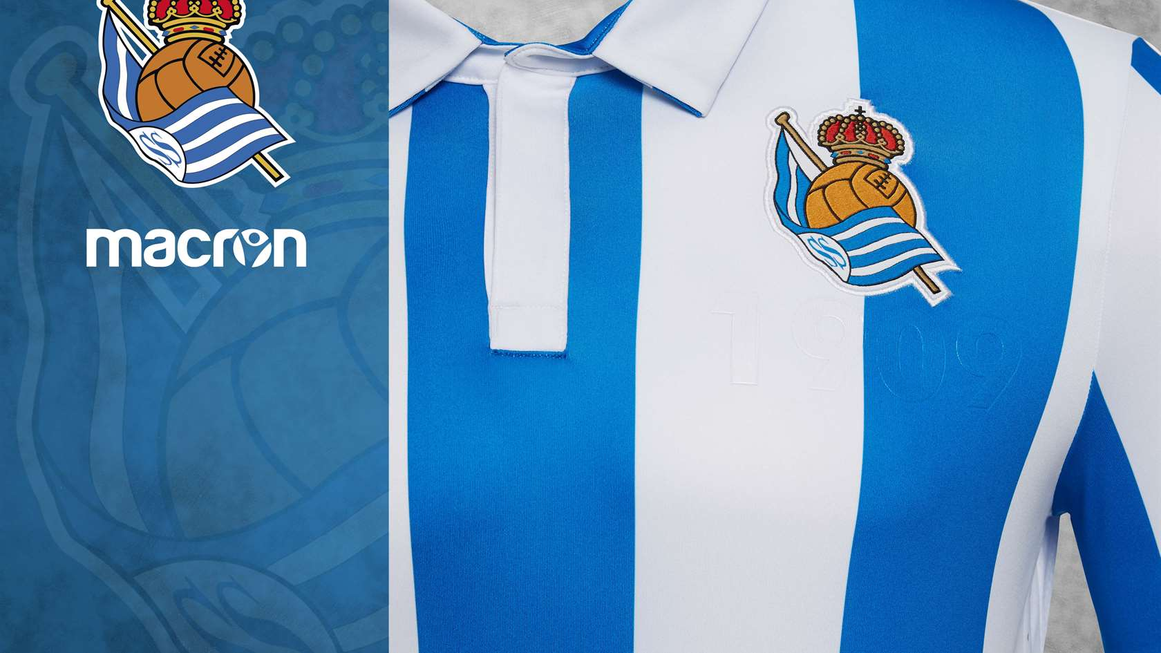 7497fd262 ONLINE SALE  JULY 13. Here is the new shirt! 05 07 2018. Real Sociedad and  Macron ...